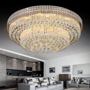 Plafonnier rond moderne à LED en cristal luxe pour salle, 3 modèles
