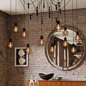 Lustre à 12 lampes en méttal D 125 cm rétro noir pour salle chambre