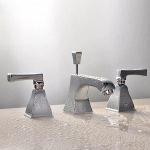 Robinet de lavabo en laiton massif double poignées et 3 trous pour salle de bain