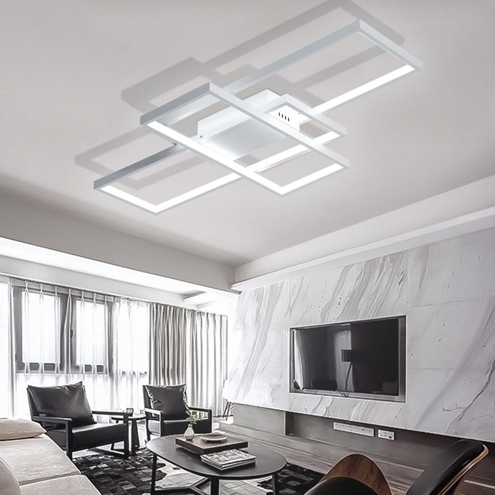 Lampe Plafond Salon Design plafonnier led en acrylique l85cm 3 rectangles redoublés