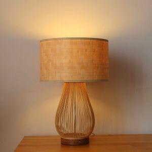 Lampe à poser japonaise lumière chaude tissée en bambou pour salle d'étude
