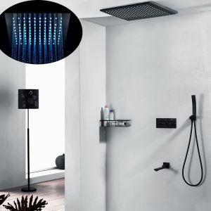 Colonne de douche encastré à multi-choix pour salle de bains, noir/chrome