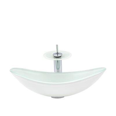 HomeLava Lavabo Vasque en Verre Tremp/é Blanc Rouge avec Robinet Cascade /à poser la salle de bain