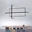 Suspension LED en métal rectangle style moderne pour salle à manger salon