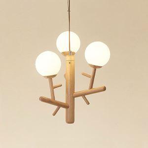 Suspension contemporaine en bois naturel à 3/6 lampes pour salon chambre cuisine