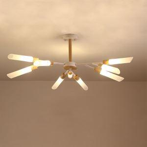Lustre nordique en bois lampe suspendue avec 9/18/24 ampoules G9 pour salon