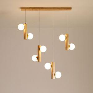 Suspension nordique en bois design créatif à 2/6/8 lumières pour salon chambre