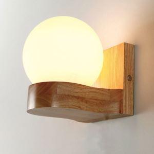 Applique murale nordique lampe de chevet en bois naturel pour chambre à coucher