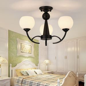 Lampe suspendue noire à 3/6/8 lumières abat-jour en verre pour salle de séjour