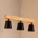 Suspension nordique en bois à 3/5 lampes pour salon chambre cuisine, blanc/noir