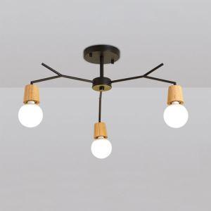 Suspension nordique en bois lampe de plafond à 3/5/8 lumières pour café restaurant