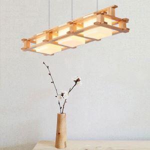 Suspension en bois L77cm luminaire créatif nordique pour café restaurant