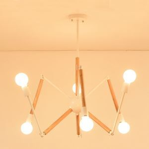 Lustre nordique en bois et fer forme créatif araignée luminaire pour salon chambre restaurant