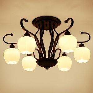 Lampe de plafond nordique en fer forgé fleur noire pour chambre à coucher
