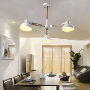 Suspension moderne nordique avec abat-jour en fer pour salon chambre, blanc / noir