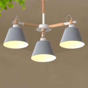 Suspension nordique en fer + bois à 3/6/8 lampes pour salon chambre cuisine