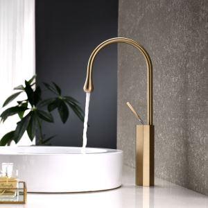 Mitigeur de lavabo en laiton or brossé H38cm avec bec d'eau en forme de goutte pour salle de bains