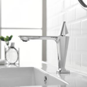 Robinet de lavabo moderne en cuivre chromé / noir / or rose, H12,5cm style court