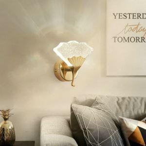 Applique murale LED forme créatif en feuille de ginkgo cristal pour chambre à coucher