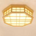 Plafonnier LED octogone en bois massif style japonais pour salle à manger