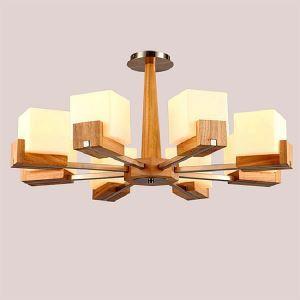 Lampe nordique suspension en bois avec abat-jour en verre pour salon cuisine