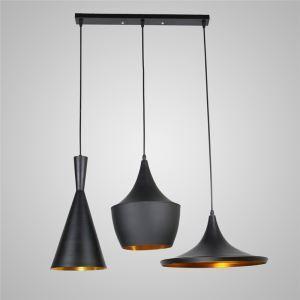 Lustre Plafonnier à 3 lampes Suspensions style industriel en aluminium noir luminaire cuisine restaurant