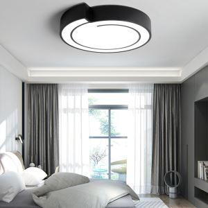 Lampe LED luminaire de plafond rond noir design contemporain pour chambre/salon/salle