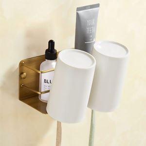 Porte brosse à dents rétro européen en cuivre avec 2 / 3 tasses en céramique pour salle de bains