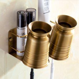 Porte brosse à dents rétro européen en cuivre or vintage accessoire pour salle de bains