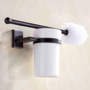 Ensemble de porte-brosse à toilette en cuivre noir ORB style rétro