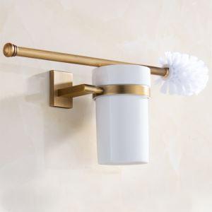 Ensemble de porte-brosse de toilette de style européen cuivre rétro