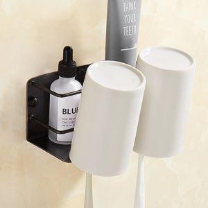 Porte brosse à dents en cuivre noir ORB double tasse en céramique pour salle de bains