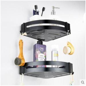 Étagère nordique de salle de bain noire en aluminium L 30.5 cm