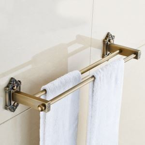 Porte-serviettes en cuivre L60cm 2 barres pour salle de bains