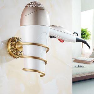 Support de sèche-cheveux étirage en cuivre antique accessoire de bains rétro