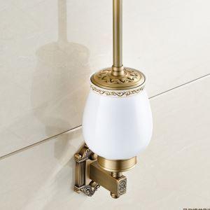 Porte-brosse à toilette or rétro accessoire de bains européen en cuivre