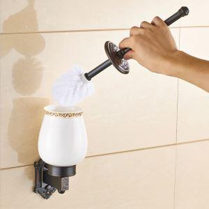 Porte-brosse à toilette noir rétro accessoire de bains en cuivre