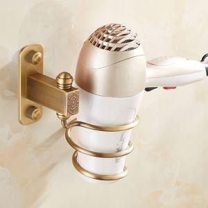 Porte-sèche-cheveux étirage en laiton style européen pour salle de bains