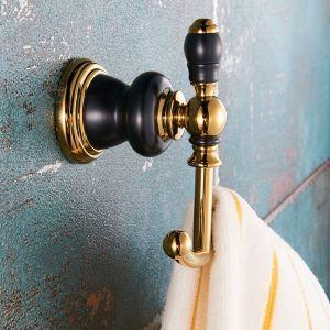 Patère de salle de bains en cuivre antique crochet noir or ORB