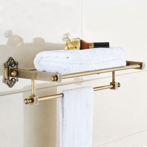 Etagère de serviette rétro en cuivre antique de style européen pour salle de bains