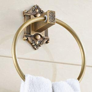 Anneau de serviette sculpté or vintage en cuivre antique pour salle de bains