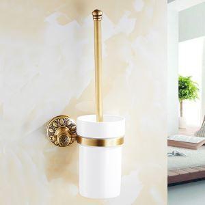 Porte-brosse à toilette mural en cuivre rétro pour salle de bains