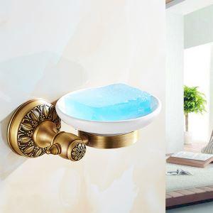 Porte-savon en laiton rétro boîte en céramique pour salle de bains