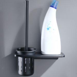 Porte-brosse à toilette noire moderne en aluminium pour salle de bains