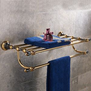 Étagère de bain en cuivre de style européen 2 modèles