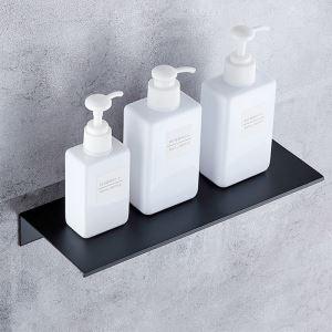 Étagère noire en aluminium tablette moderne pour salle de bains