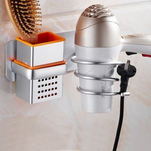 Porte-sèche-cheveux moderne en aluminium à multifonctions