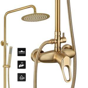 Colonne de douche en laiton doré brossé pour salle de bains, montage mural