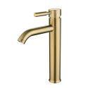 Mitigeur de lavabo doré en acier inox brossé H 31,3cm pour salle de bains