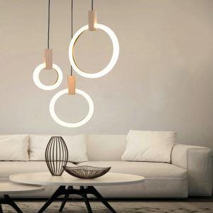 Suspension moderne simple LED à 3 lumières rondes pour salon chambre